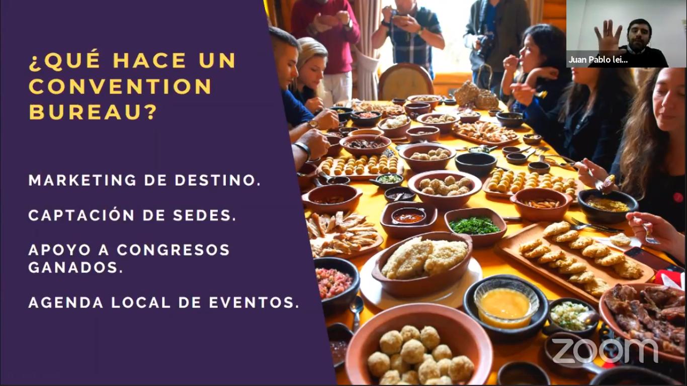 screen shot de una de las charlas de la Semana Formativa Virtual de Futuro Técnico y ONG Canales - presentación de Convention Bureau Los Ríos